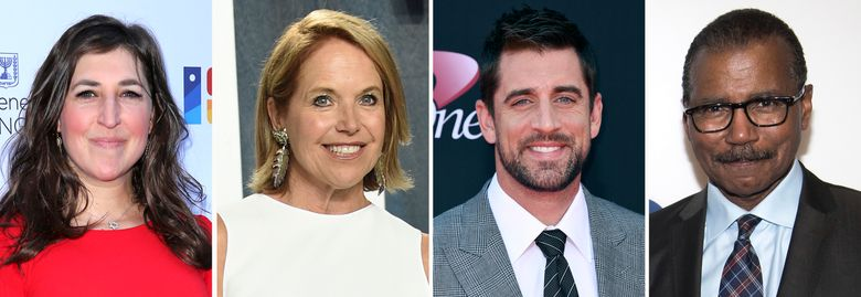 """From left, Mayim Bialik, Katie Couric, Aaron Rodgers and Bill Whitaker.  """"Jeopardy"""" announced Wednesday that Couric will become the first woman to host the show and will be among those guest hosting on an interim basis along with NFL quarterback Rodgers, """"Big Bang Theory"""" Bialik and """"60 Minutes"""" correspondent Whittaker. (AP Photo)"""