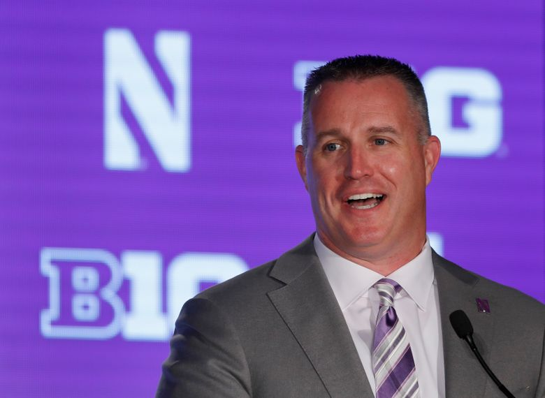 FILE – Northwestern head coach Pat Fitzgerald responds to a question during Big Ten Conference NCAA college football media days in Chicago, in this Friday, July 19, 2019, file photo. Northwestern and coach Pat Fitzgerald have agreed to a new contract through the 2030 season. The 46-year-old Fitzgerald is by far the program's winningest coach with a 106-81 record since he took over at his alma mater in 2006 following Randy Walker's unexpected death. (AP Photo/Charles Rex Arbogast, File)