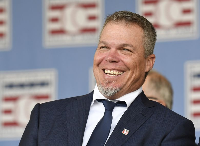 National Baseball Hall of Fame inductee Chipper Jones during the  induction ceremony in Cooperstown, N.Y., in 2018. (Hans Pennink / AP)