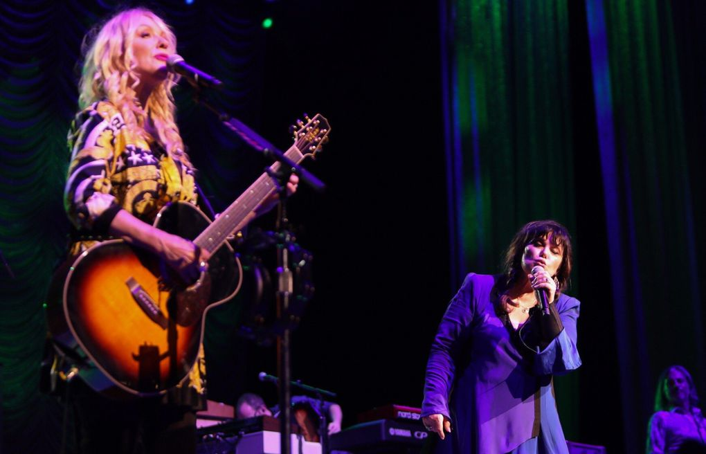 Rock & Roll Hall of Famers Heart (sisters Nancy Wilson, left, and Ann Wilson, right), shown here at their Love Alive tour at the Tacoma Dome in 2019, supported many younger Seattle bands through the years. (Kimberly Adamis)