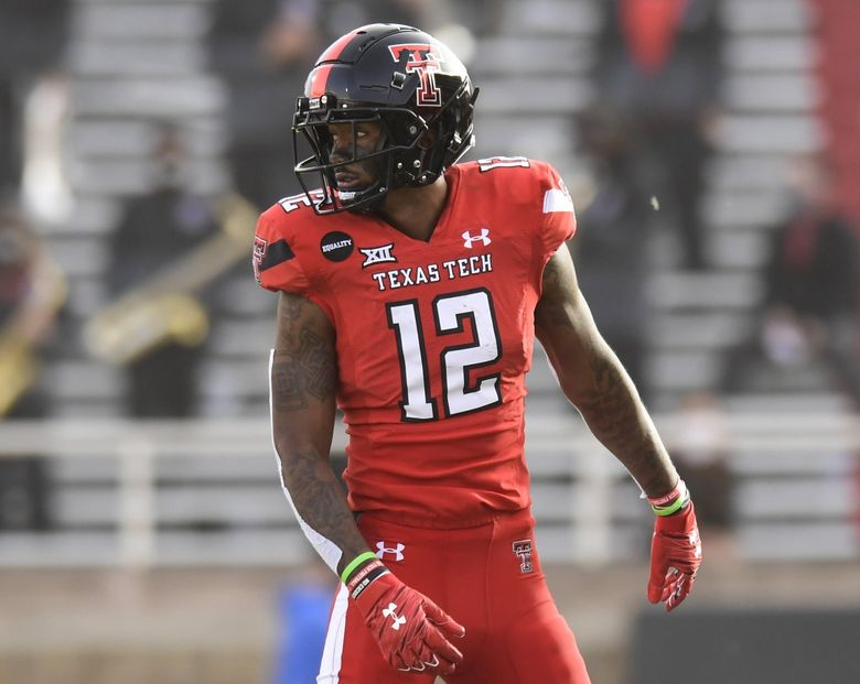 Texas Tech wide receiver Ja'Lynn Polk (12) lines up against Baylor in the first half of an NCAA college football game in Lubbock, Texas, Saturday, Nov. 14, 2020. (Justin Rex / AP)
