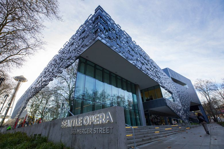 Exterior shot of Seattle Opera's headquarters, located at 363 Mercer St. in Seattle. (Ellen M. Banner / The Seattle Times)