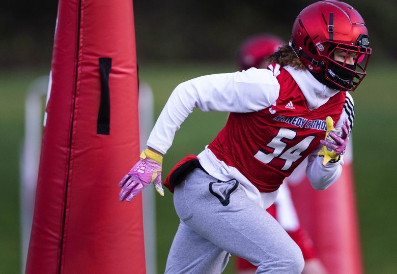 Junior Alexander is a prized D1 recruit at wide receiver for Kennedy Catholic during practice on February 8, 2021. Kennedy Catholic figures to be a force in prep football this season. (Dean Rutz / The Seattle Times)