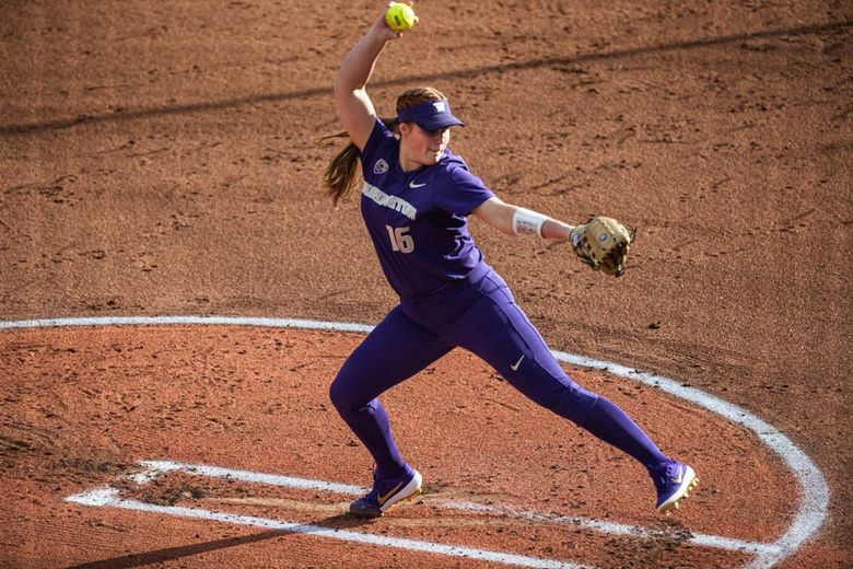 Gabbie Plain dominated Mississippi State, thowing her third no-hitter of the season to advance the Huskies to the NCAA Super Regionals.  Washington defeated Mississippi State 8-0 Sunday, May 19, 2019 to advance to the NCAA Softball Super Regionals. (Dean Rutz / The Seattle Times)
