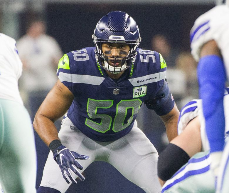Seattle Seahawks outside linebacker K.J. Wright (50) as the Dallas Cowboys play the Seattle Seahawks at AT&T Stadium in Arlington Texas on January 5, 2019. (Mike Siegel / The Seattle Times)