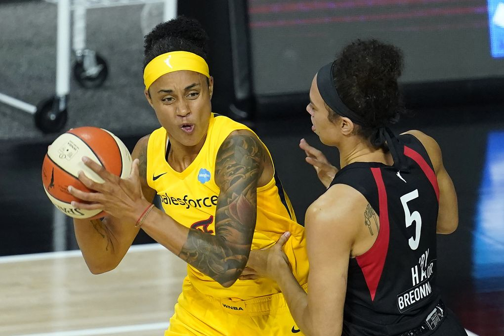 Candice Dupree, pictured with the Indiana Fever last season, will be a key newcomer for the Storm in 2021.  (Chris O'Meara / AP)