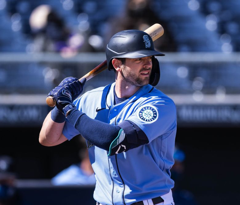 Mitch Haniger saw his first action since being injured in 2019 as the Mariners opened Cactus League play against the Padres on Sunday. (Dean Rutz / The Seattle Times)