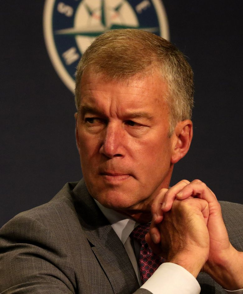 Kevin Mather, Mariners president and CEO, at a 2018 news conference. (Alan Berner / The Seattle Times)