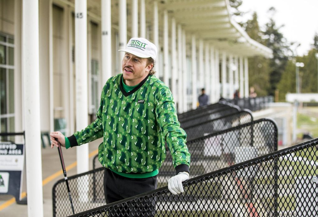 Macklemore talks about his passion for golf before hitting a few more golf balls at Jefferson Park driving range on Feb. 18. (Amanda Snyder / The Seattle Times)