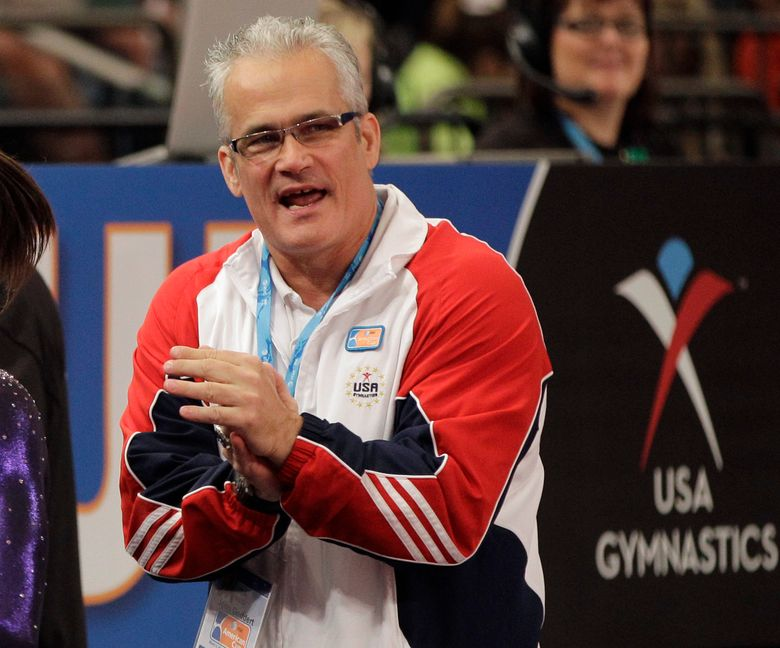 FILE – In this March 3, 2012, file photo, gymnastics coach John Geddert is seen at the American Cup gymnastics meet at Madison Square Garden in New York. Prosecutors in Michigan filed charges Thursday, Feb. 25, 2021, against Geddert, a former U.S. Olympics gymnastics coach with ties to disgraced sports doctor Larry Nassar. Geddert was head coach of the 2012 U.S. women's Olympic gymnastics team, which won a gold medal. (AP Photo/Kathy Willens, File)
