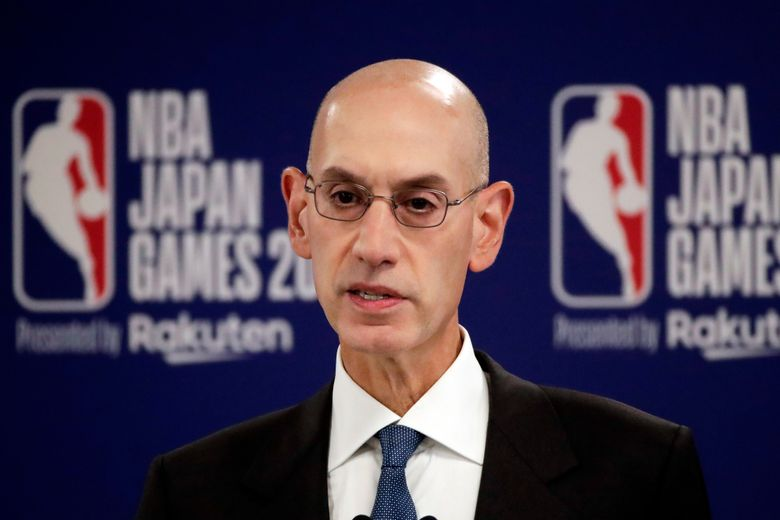 FILE – in this Oct. 8, 2019, file photo, NBA Commissioner Adam Silver speaks at a news conference before an NBA preseason basketball game between the Houston Rockets and the Toronto Raptors in Saitama, near Tokyo. Silver, in an interview with The Associated Press on Friday, Feb. 26, 2021, defended the league's decision to have an All-Star Game in Atlanta on March 7 and said he believes the league can do so safely during a pandemic. (AP Photo/Jae C. Hong, File)