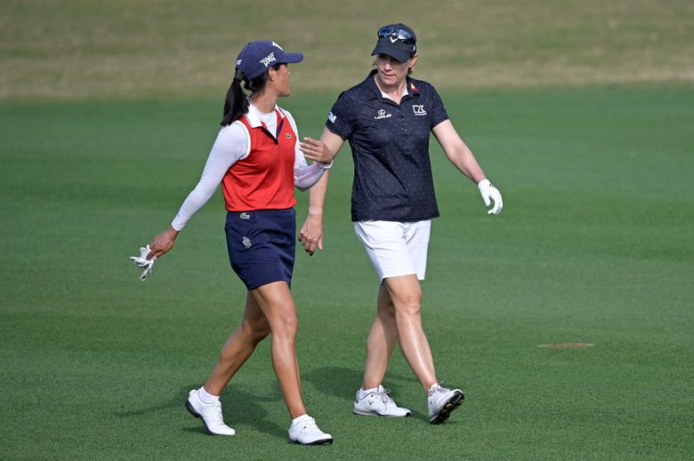FILE – In this Sunday, Jan. 24, 2021 file photo, Celine Boutier, left, of France, and Annika Sorenstam, of Sweden, chat while walking down the 17th fairway during the final round of the Tournament of Champions LPGA golf tournament in Lake Buena Vista, Fla. Sorenstam will compete on the LPGA this week for the first time since 2008. (AP Photo/Phelan M. Ebenhack, File)