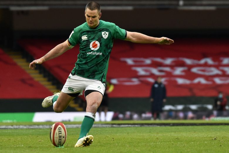 Ireland's Johnny Sexton kicks a convertion during the Six Nations rugby union international between Wales and Ireland at the Principality Stadium in Cardiff, Wales, Sunday, Feb. 7, 2021. (AP Photo/Rui Vieira)