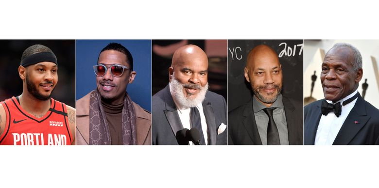 """This combination photo shows, from left, Carmelo Anthony, Nick Cannon, David Alan Grier, John Ridley and Danny Glover who will be featured on """"Soul of a Nation,"""" an ABC newsmagazine focused on Black life in America. (AP Photo)"""