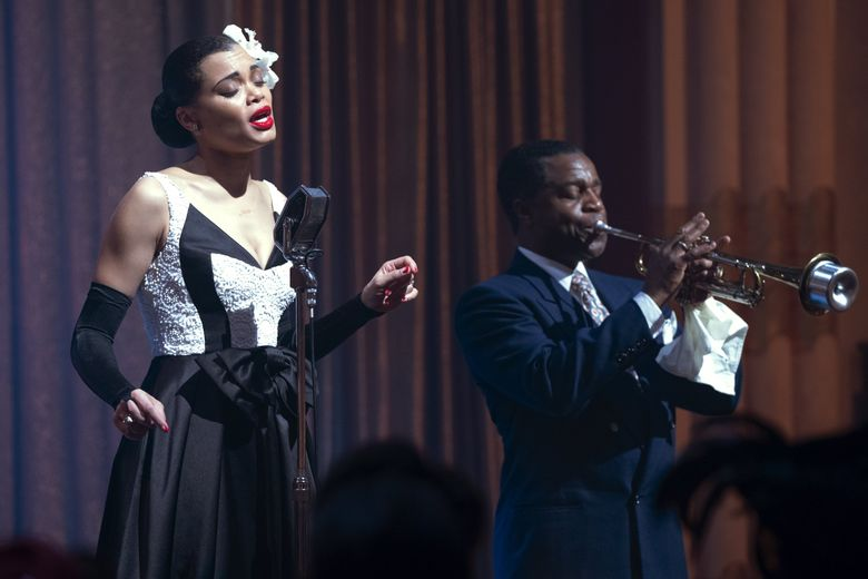 """""""The United States vs. Billie Holiday,"""" with Andra Day and Kevin Hanchard, is about the legendary jazz singer and her bravery in repeatedly performing the anti-lynching song """"Strange Fruit."""" (Takashi Seida)"""