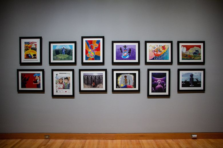 """Works from 12 Seattle-area young people are included in Seattle Art Museum's """"Jacob Lawrence: The American Struggle"""" exhibit. The young artists were asked to imagine a 31st panel for Lawrence's 30-panel series """"Struggle: From the History of the American People."""" Izze Peña's work is on the top row, third from left. (Natali Wiseman)"""