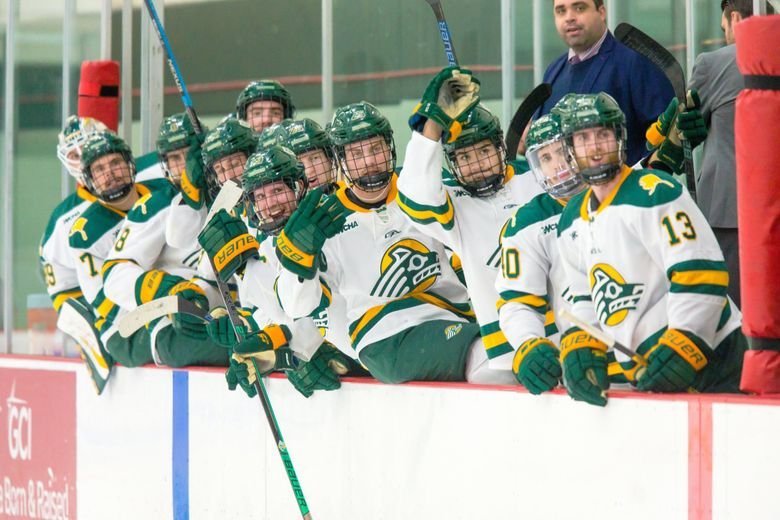 The Save Seawolf Hockey group has raised $1.8 million toward its goal of $3 million to fund at least two more seasons for the University of Alaska-Anchorage men's hockey team, shown during the 2019-20 season.  (University of Alaska-Anchorage photo)