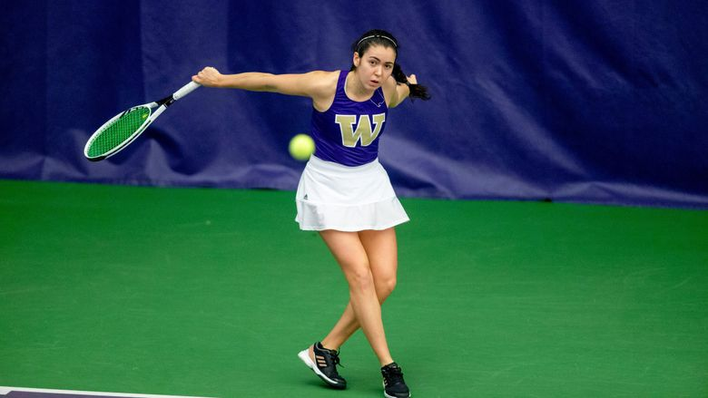 Freshman Sarah-Maude Fortin is 8-0 in singles for the Washington women's tennis team. Here Fortin defeats Idaho 7-0 on Jan. 30, 2020.  (Scott Eklund / Red Box Pictures)