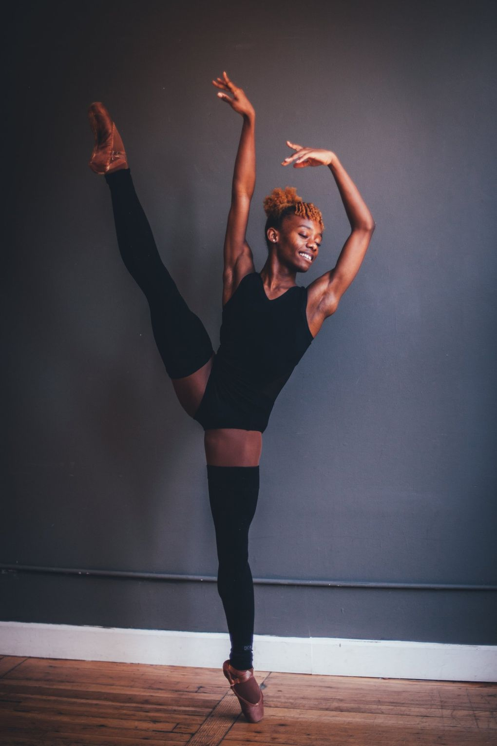 """Ashton Edwards is the first male professional division student at Pacific Northwest Ballet to take pointe technique classes. """"It was just like magic,"""" he says of his first time dancing on pointe. """"I felt like I could dance forever."""" (En Avant Photography)"""