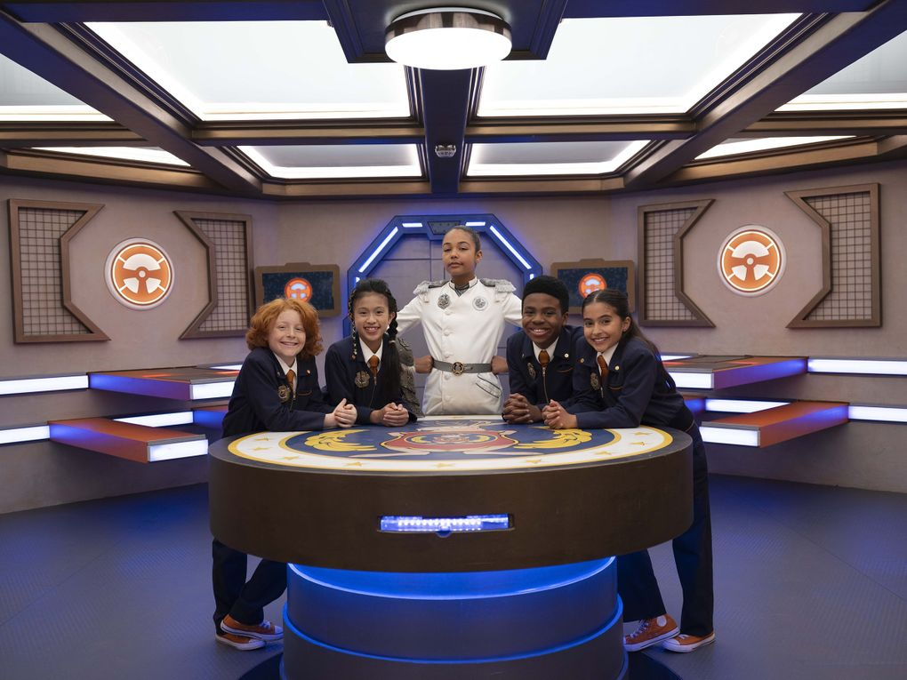 """PBS Kids' """"Odd Squad,"""" about young government agents, includes, from left, Gavin MacIver-Wright as Oswald, Alyssa Hidalgo as Orla, Millie Davis as The Big O, Jayce Alexander as Omar and Valentina Herrera as Opal. (Darren Goldstein / Fred Rogers Productions)"""