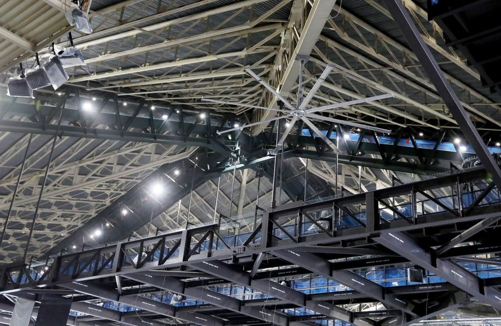 Acoustic treatments to be installed inside the pyramid roof are aimed to enhance live music experiences at Climate Pledge Arena. (Ken Lambert / The Seattle Times)
