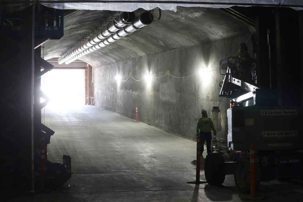 Still under construction, Climate Pledge Arena has an enormous service tunnel, capable of two-way truck traffic. (Ken Lambert / The Seattle Times)