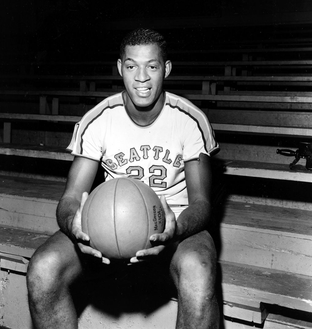 Elgin Baylor, then a 6-foot-5 center for Seattle University, with an average of 34.4 scoring points per game, is seen in this Feb. 14, 1958, photo in Seattle. (The Associated Press)