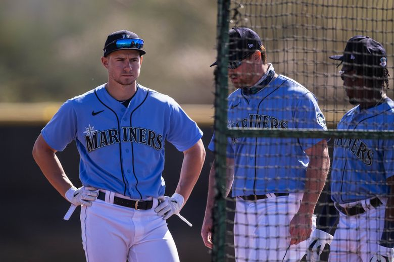 Jarred Kelenic during practice at Seattle Mariners Spring Training last month. (Dean Rutz / The Seattle Times)