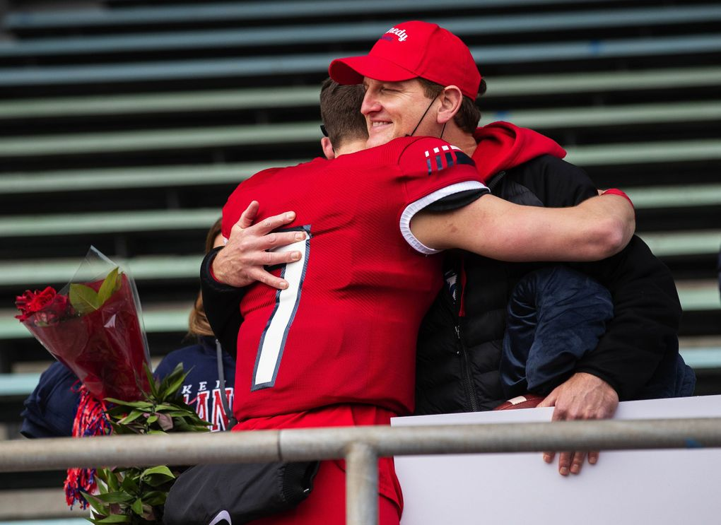 Sam Huard became the state's all-time passing leader with Kennedy's 60-17 win over Kentwood Saturday, March 27, 2021. 216674 (Dean Rutz / The Seattle Times)