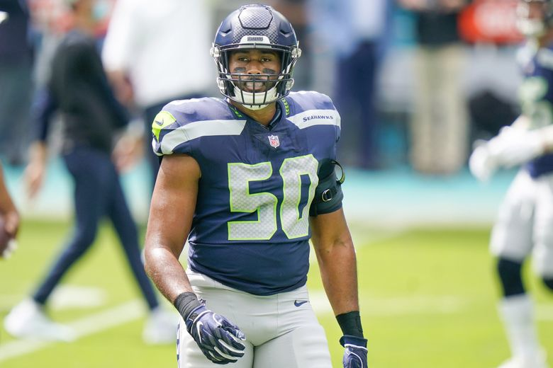 Seattle Seahawks outside linebacker K.J. Wright warms up before a game against the Miami Dolphins, Oct. 4, 2020, in Miami Gardens, Fla. (Lynne Sladky / AP)