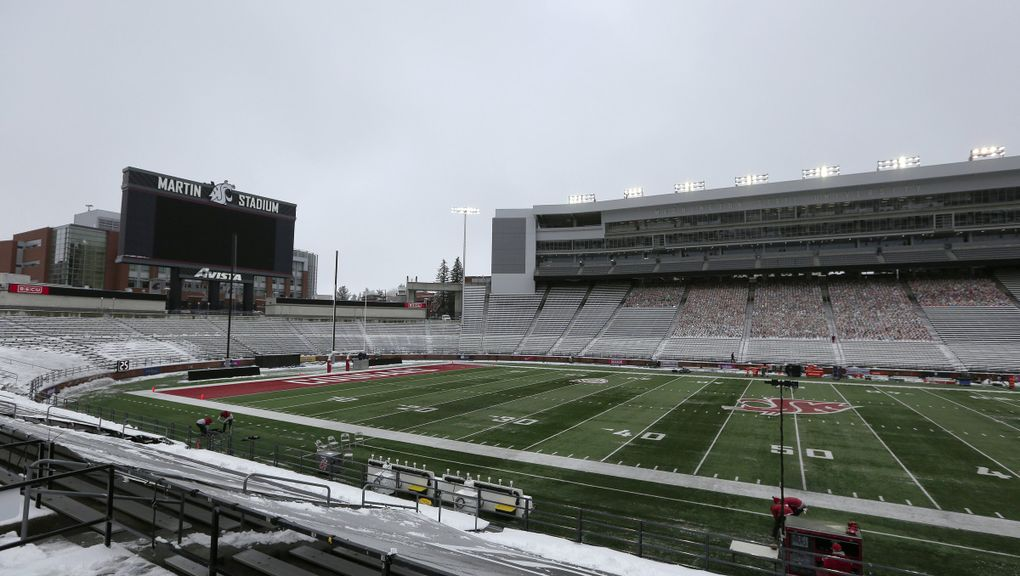 Martin Stadium is seen after the NCAA college football game between Washington State and California was canceled because of a case of COVID-19 on the Cal team, Saturday, Dec. 12, 2020, in Pullman. (Young Kwak / AP)