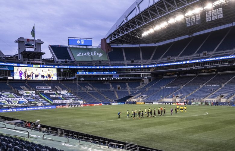 the Sounders and LAFC take the field in an empty CenturyLink Sunday.  The Seattle Sounders played their first game in CenturyLink Field since March – against rival LAFC Sunday August 30, 2020. (Dean Rutz / The Seattle Times)