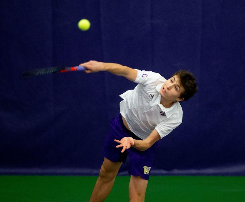 The University of Washington men's tennis team plays Eastern Washington University on January 27, 2021.  (Scott Eklund / Red Box Pictures)
