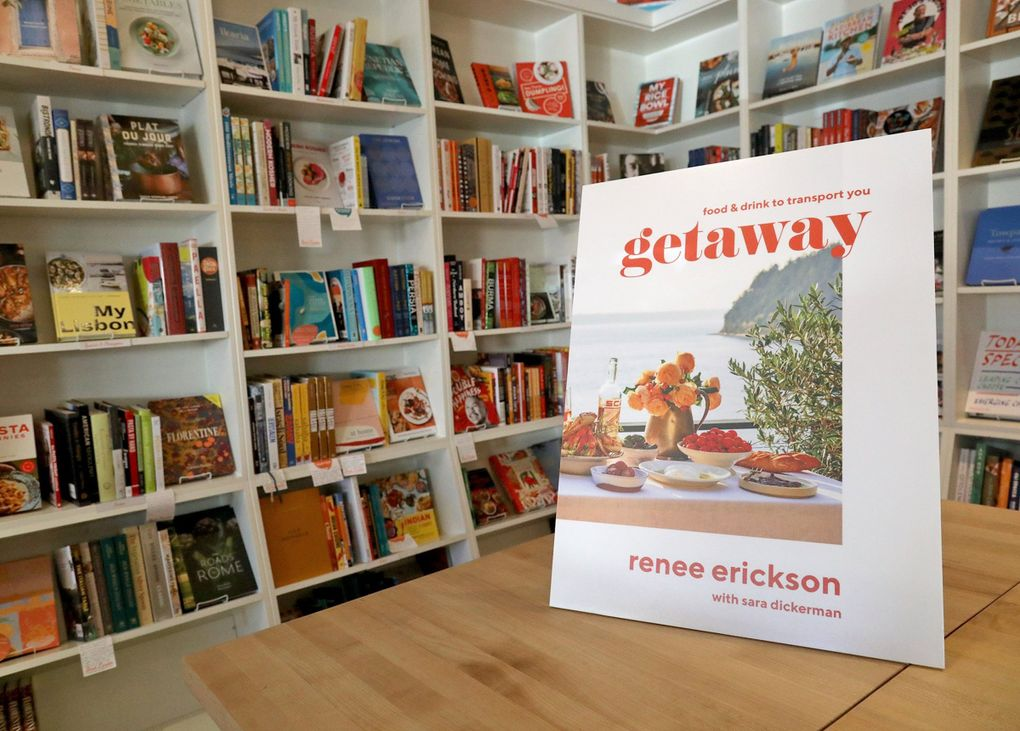 """At Book Larder, a cooking-focused bookstore in Fremont, there is a corner featuring Northwest chefs. Renee Erickson's latest book, """"Getaway: Food & Drink to Transport You,"""" will be for sale soon at the store. The book is due April 27, 2021.  (Greg Gilbert / The Seattle Times)"""