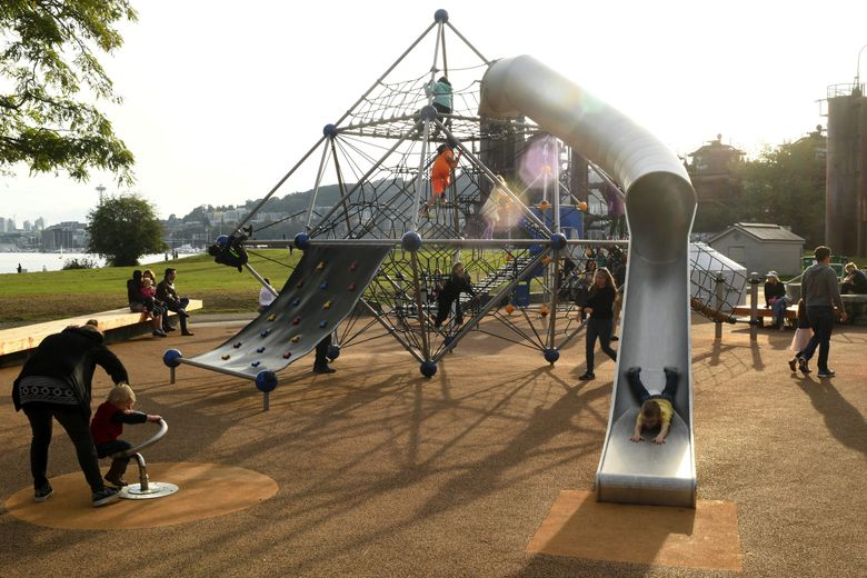 The playground at Gas Works Park, built in 2018, was designed for adventurous kids who love a challenge. It also has  sweeping views of the Seattle skyline. (JiaYing Grygiel)