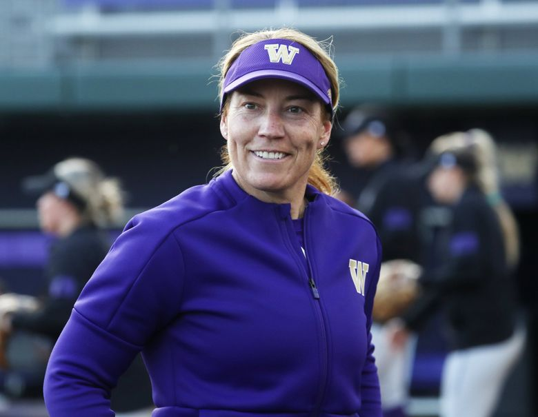 Huskies' softball headcoach Heather Tarr at a practice, Wednesday, March 4, 2020 at the University of Washington in Seattle. (Ken Lambert / The Seattle Times)