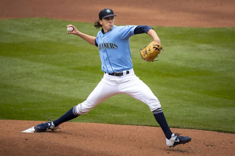 Pitcher Logan Gilbert starts on the mound for their intrasquad game as the Seattle Mariners continue Summer Camp training at T-Mobile Park in Seattle, July 11, 2020. (Bettina Hansen / The Seattle Times)