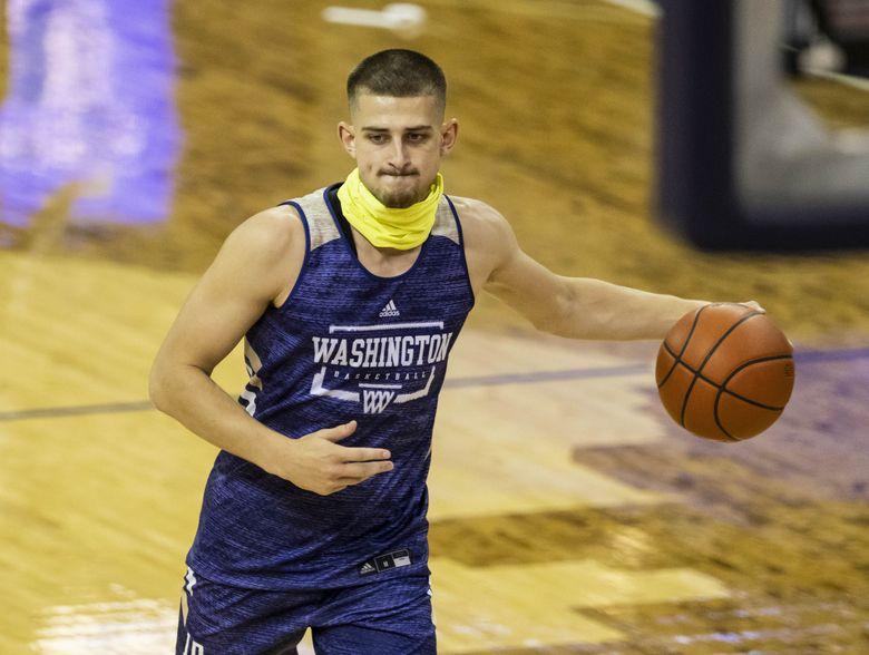 Junior guard Erik Stevenson participates in The University of Washington men's basketball team practice Tuesday, October 27, 2020 at Alaska Airlines Arena. (Dean Rutz / The Seattle Times)