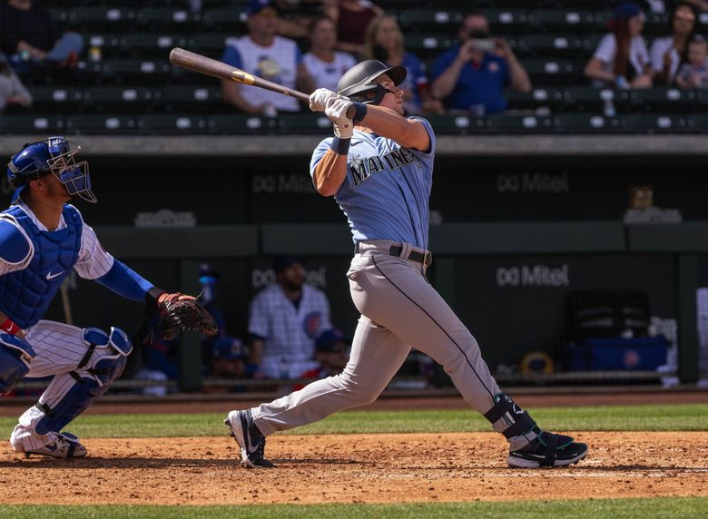 Jarred Kelenic launches a two-run home run to left-center in the fourth inning. The Seattle Mariners and the Chicago Cubs played to an 8-8 tie in Spring Training baseball Wednesday, March 3, 2020, at Sloan Park in Mesa, Arizona. (Dean Rutz / The Seattle Times)