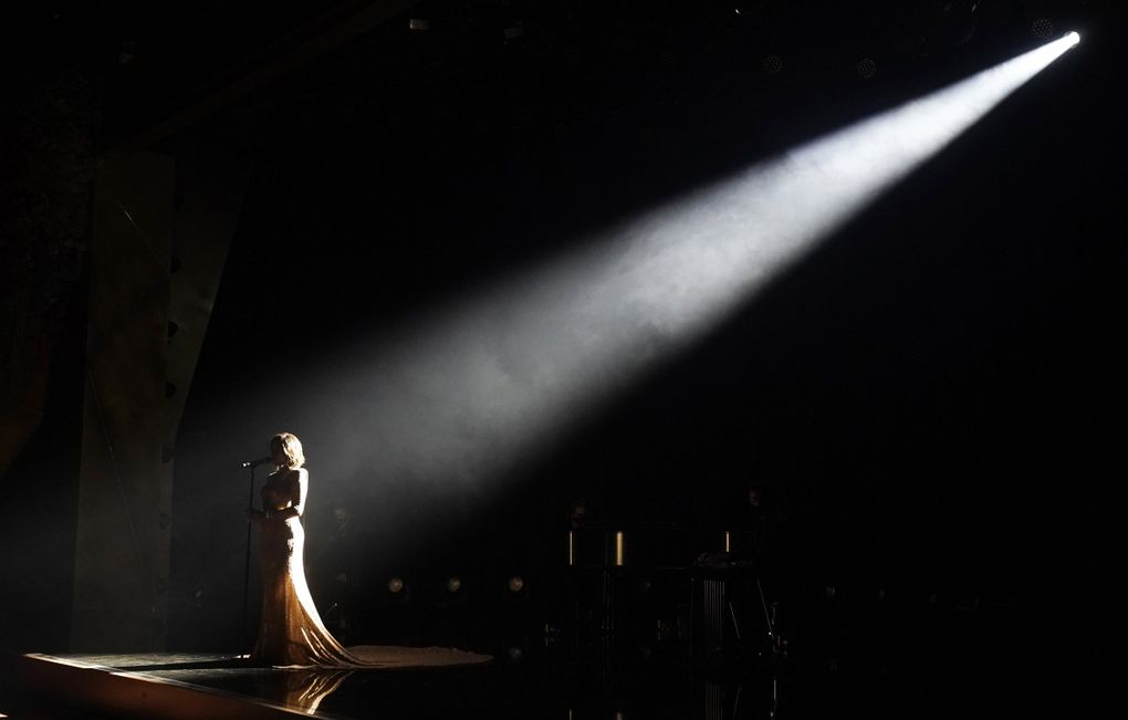 """Mickey Guyton performs """"Black Like Me"""" at the 63rd Grammy Awards at the Los Angeles Convention Center, Tuesday, March 9, 2021. The awards show airs on March 14 with both live and prerecorded segments. (Chris Pizzello / Invision / AP)"""