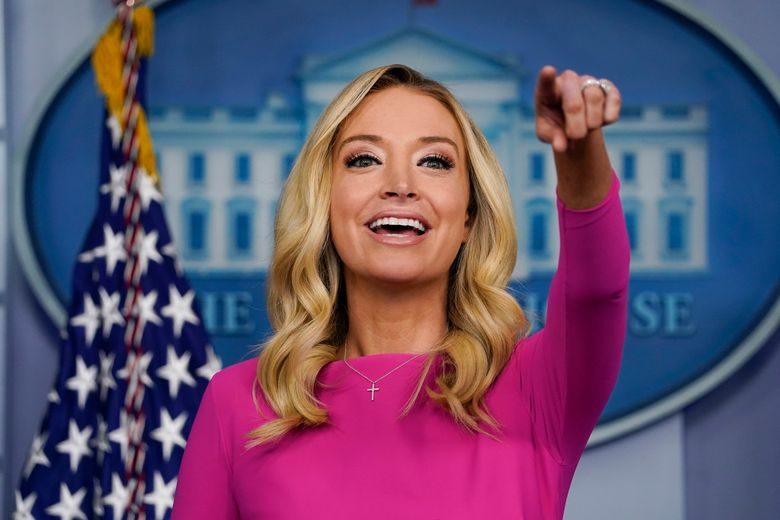 FILE – In this Dec. 2, 2020 file photo, White House press secretary Kayleigh McEnany speaks during a briefing at the White House in Washington. McEnany has signed on as a Fox News contributor. (AP Photo/Evan Vucci)