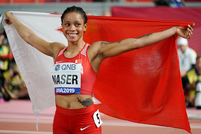 FILE – In this file photo dated Thursday, Oct. 3, 2019, Salwa Eid Naser of Bahrain, celebrates after winning gold in the women's 400 meter final at the World Athletics Championships in Doha, Qatar.  It is announced Tuesday March 30, 2021, that World champion sprinter Salwa Eid Naser has a two-day appeal hearing next month at the Court of Arbitration for Sport, that could lead to a ban from the Tokyo Olympics for breaking anti-doping rules.   (AP Photo/David J. Phillip, FILE)