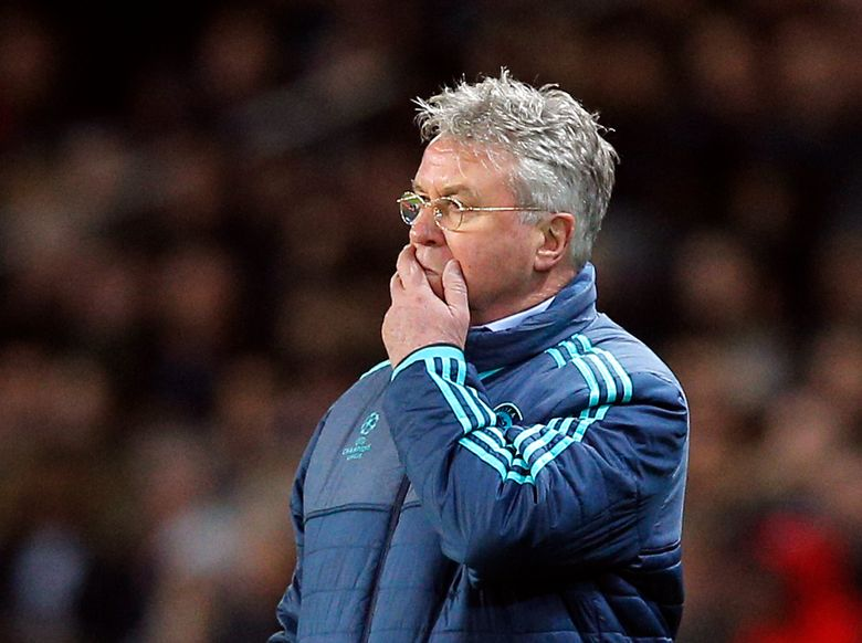 FILE – In this Feb. 16, 2016, file photo, Chelsea manager Guus Hiddink reacts during the team's Champions League against Paris Saint Germain in Paris. Curaçao began its World Cup qualifying campaign under former Netherlands and Chelsea manager Hiddink with a 5-0 victory over St. Vincent and the Grenadines on Thursday, March 25, 2021, at Willemstad on the Caribbean island that is a constituent country of the Netherlands. (AP Photo/Christophe Ena)