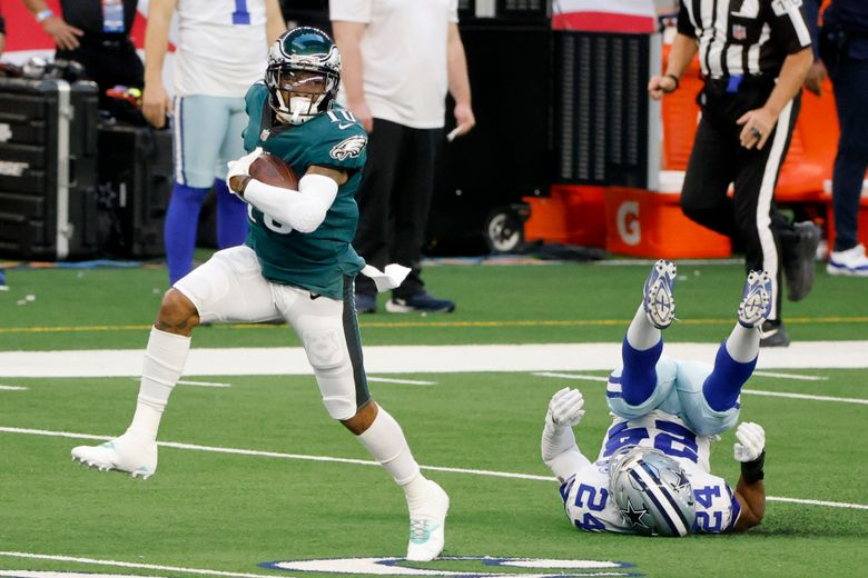 FILE – In this Sunday, Dec. 27. 2020 file photo, Philadelphia Eagles' DeSean Jackson (10) catches a long pass and gets past Dallas Cowboys cornerback Chidobe Awuzie (24) on his way to the end zone for a touchdown in the first half of an NFL football game in Arlington, Texas. Veteran receiver DeSean Jackson has signed with the Los Angeles Rams, returning to his native Southern California after 13 NFL seasons on the East Coast. The Rams announced the deal for Jackson on Sunday, March 21, 2021 adding him to the targets for new quarterback Matthew Stafford.(AP Photo/Michael Ainsworth, File)