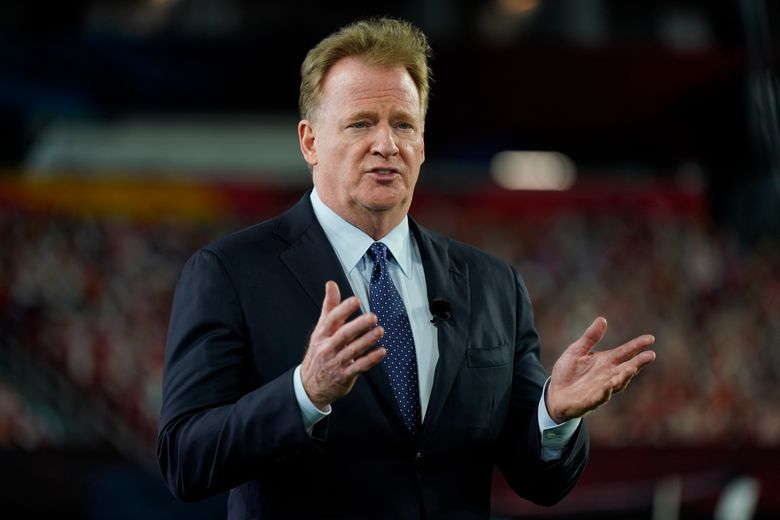 FILE – Commissioner Roger Goodell gestures during the NFL Honors ceremony as part of Super Bowl 55 in Tampa, Fla., in this Friday, Feb. 5, 2021, file photo. The NFL is increasing the regular season to 17 games, as expected, and reducing the preseason to three games. Team owners on Tuesday, March 30, 2021, approved the 17th game, marking the first time in 43 years the regular season has been increased.(AP Photo/Charlie Riedel, File)