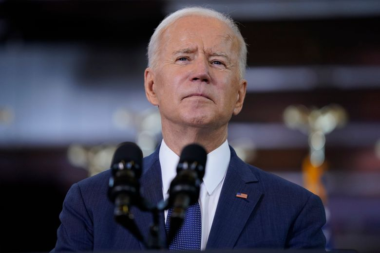 President Joe Biden delivers a speech on infrastructure spending at Carpenters Pittsburgh Training Center, Wednesday, March 31, 2021, in Pittsburgh. (AP Photo/Evan Vucci)