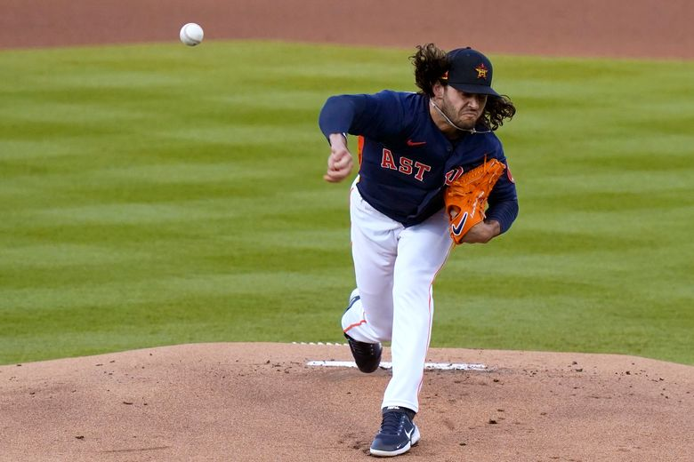 Houston Astros starting pitcher Lance McCullers Jr. throws during the first inning of a spring training baseball game against the Washington Nationals, Tuesday, March 9, 2021, in West Palm Beach, Fla. (AP Photo/Lynne Sladky)