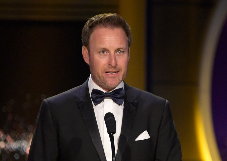 """FILE – In this April 29, 2018, file photo, Chris Harrison presents the award for outstanding entertainment talk show host at the Daytime Emmy Awards at the Pasadena Civic Center in Pasadena, Calif. Harrison will not host the upcoming season of """"The Bachelorette"""" following controversy over racially insensitive comments, and will instead be replaced with two former contestants, ABC Entertainment and Warner Horizon said in a statement Friday, March 12, 2021. (Photo by Richard Shotwell/Invision/AP, File)"""