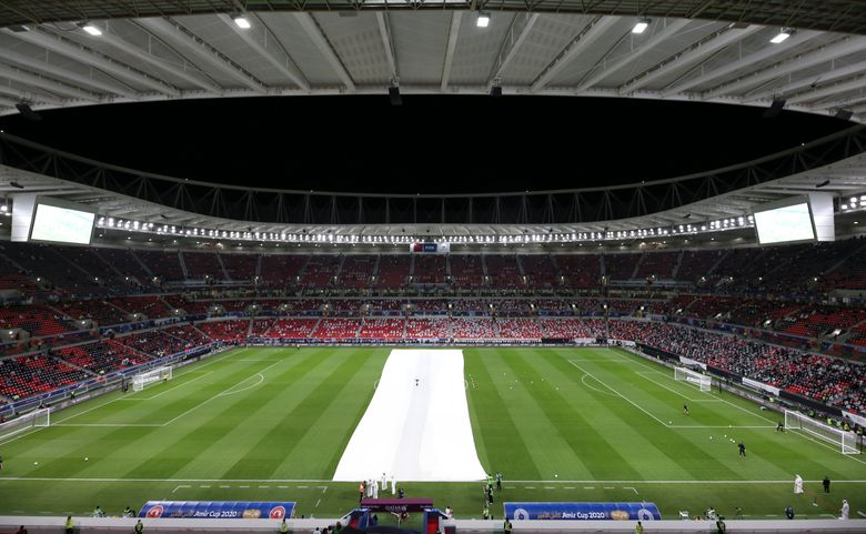 FILE – This Thursday, Dec. 18, 2020 file photo shows a general view of the Al Rayyan stadium during the opening ceremony in Al Rayyan, Qatar. A look at the state of play in Qatar's preparations for the 2022 World Cup amid ongoing criticism of the host nation as qualifying in Europe begins. (AP Photo/Hussein Sayed, file)