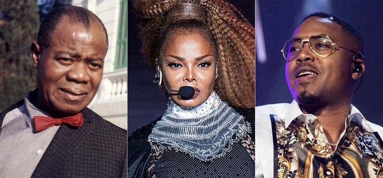 """Jazz musician Louis Armstrong appears in Rome in 1968, from left,  Janet Jackson performs at the Essence Festival in New Orleans on July 8, 2018, and Nas performs at the Essence Festival in New Orleans on July 6, 2019. Jackson's socially conscious album """"Rhythm Nation 1814,""""  Armstrong's jazzy """"When the Saints Go Marching In"""" and Nas' debut release """"Illmatic"""" are among 25 recordings being inducted to the National Recording Registry. (AP Photo)"""